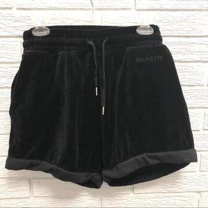 Brunette the Label Black Velour Lounge Shorts
